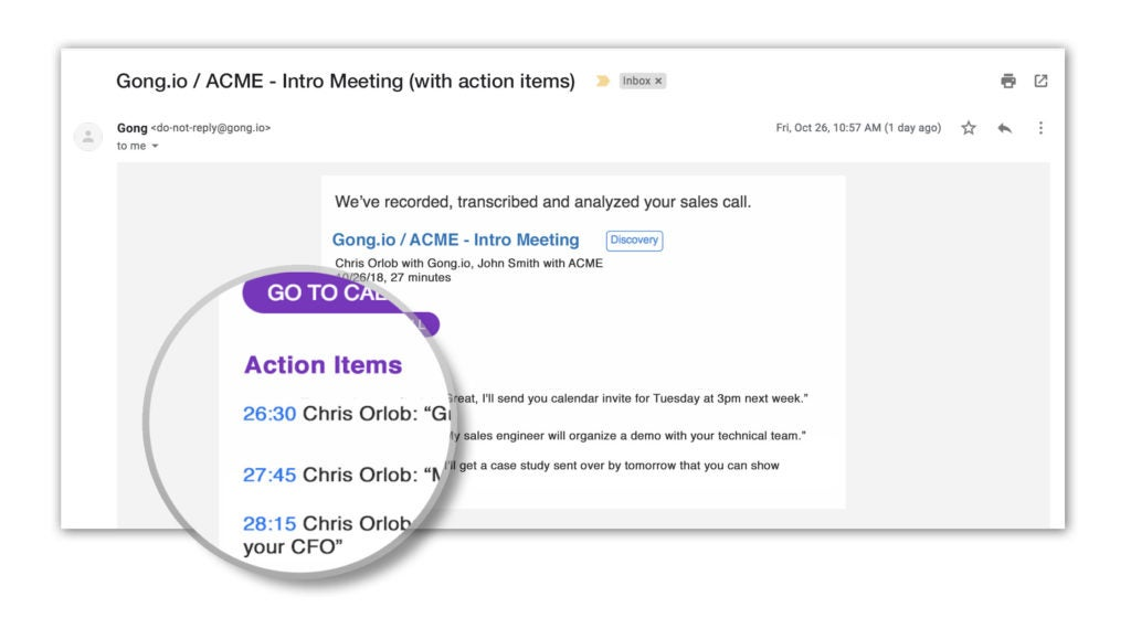 Action Items Screen Shot Gong - Email