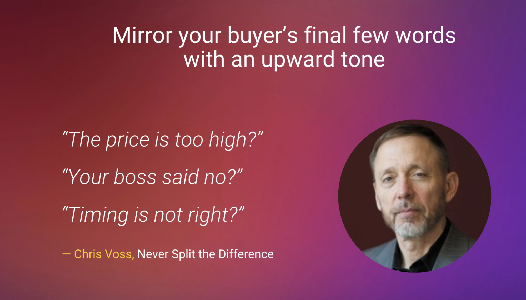 Mirroring sales technique