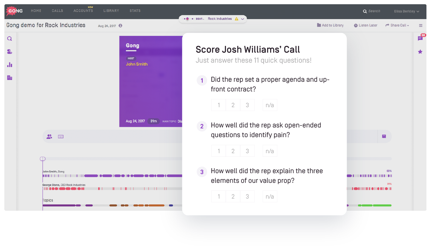 Sales coaching call scoring