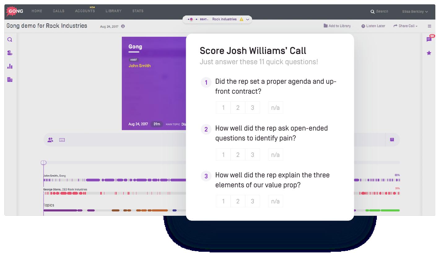 Sales coaching call scoring